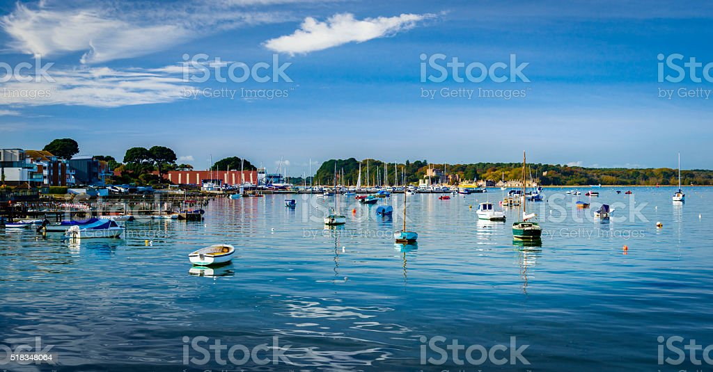 Boats in Poole Harbour, Dorset, looking out to Brownsea Island stock photo