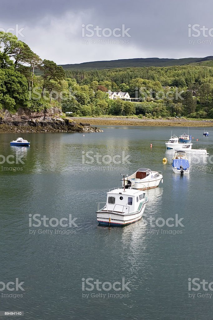 Boats in Portree harbour royalty-free stock photo