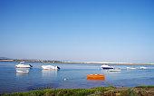 boats in Ria Formosa, Faro, Algarve, Portugal