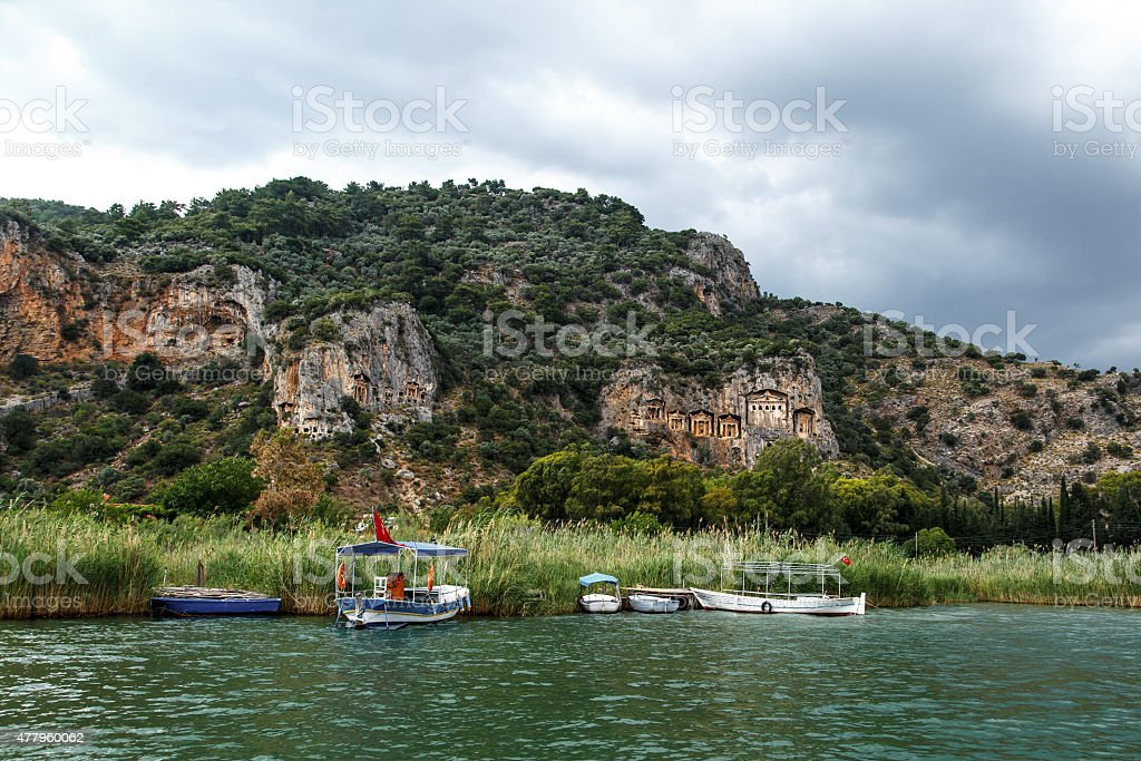 Boats in River in Dalyan stock photo