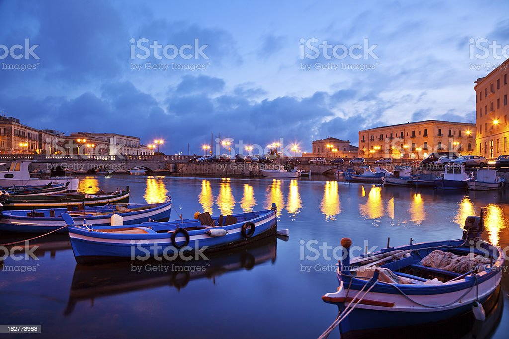 Boats in Sicily, Italy stock photo