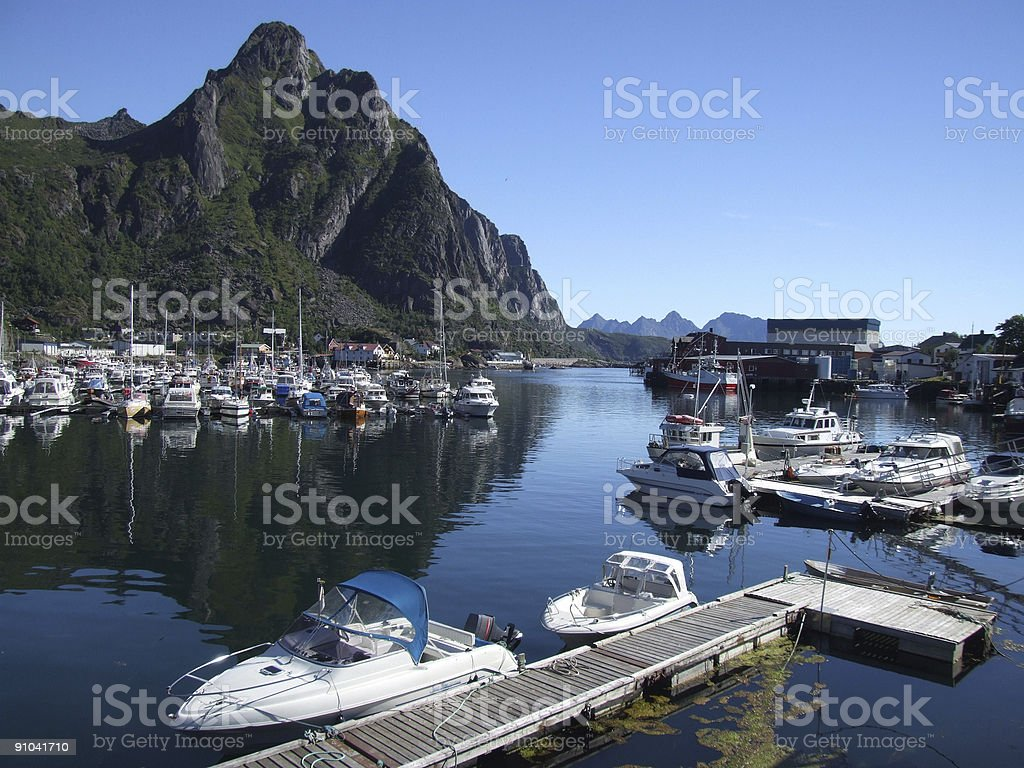 Boats in small harbor (Norway) royalty-free stock photo