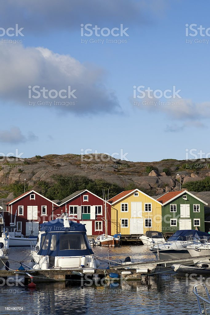 Boats in Smögen royalty-free stock photo