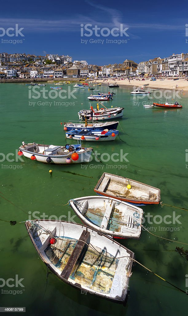 Boats in St Ives Harbour stock photo