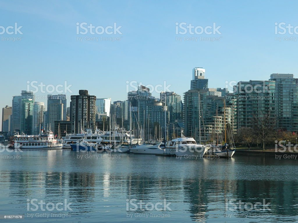 Boats in Stanley Park Harbour stock photo