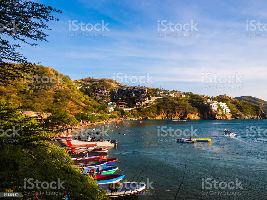 Boats in Taganga, Colombia stock photo