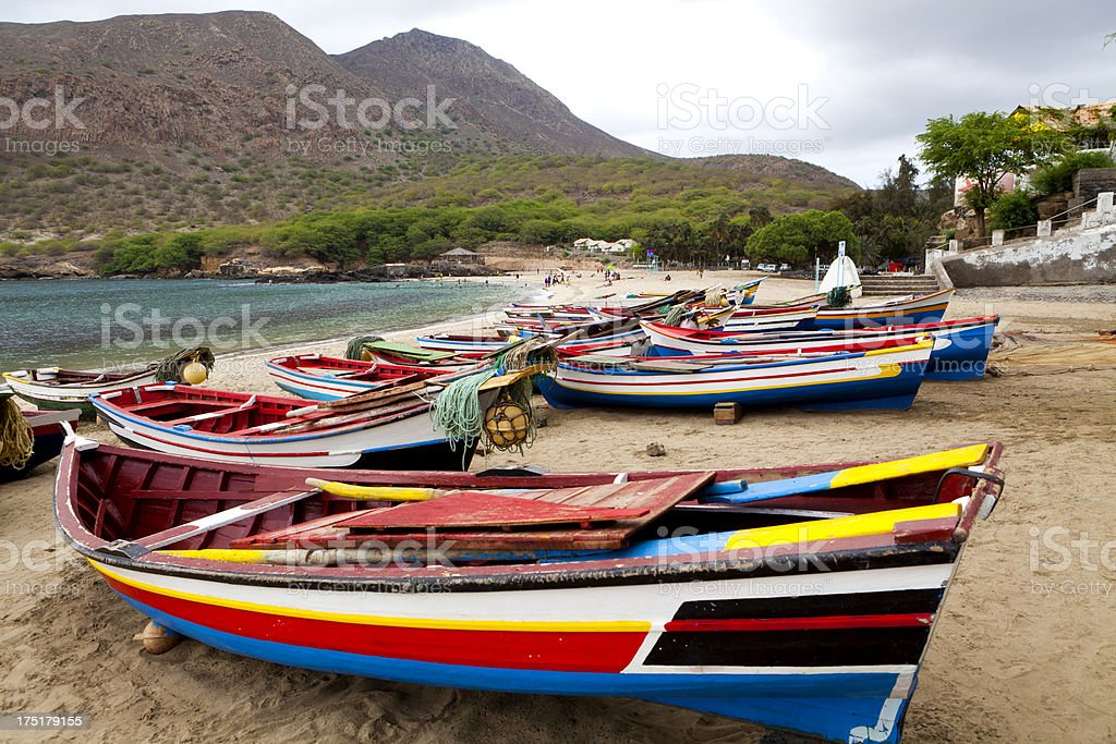 Boats in Tarrafal Beach stock photo