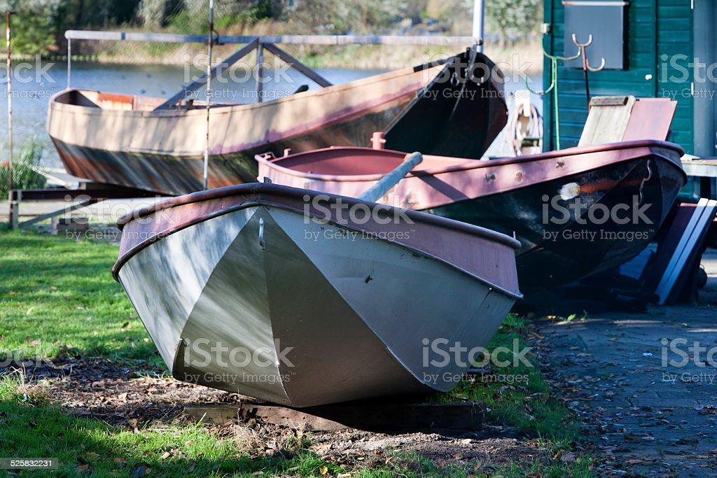 Boats in the backyard stock photo