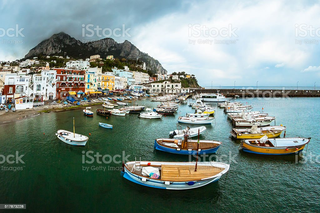 Boats in the Capri Bay stock photo