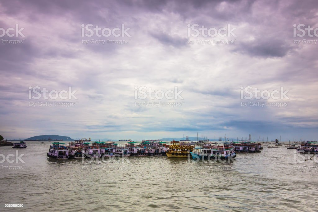 Boats in the coast Mumbai, Indi stock photo