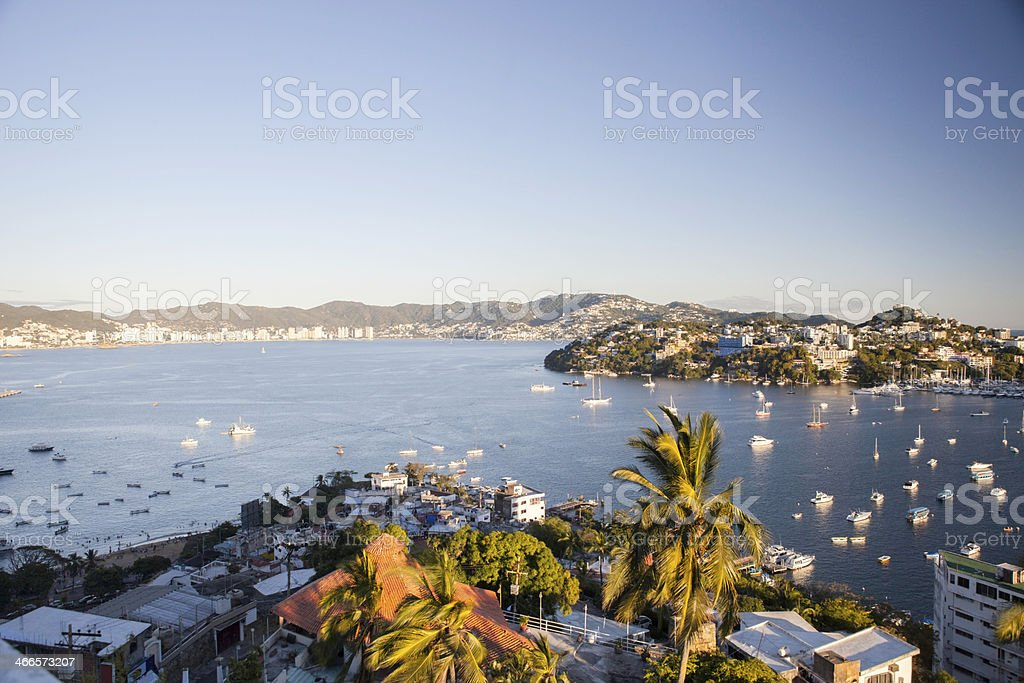 Boats in the Coletta Bay of Acapulco. stock photo
