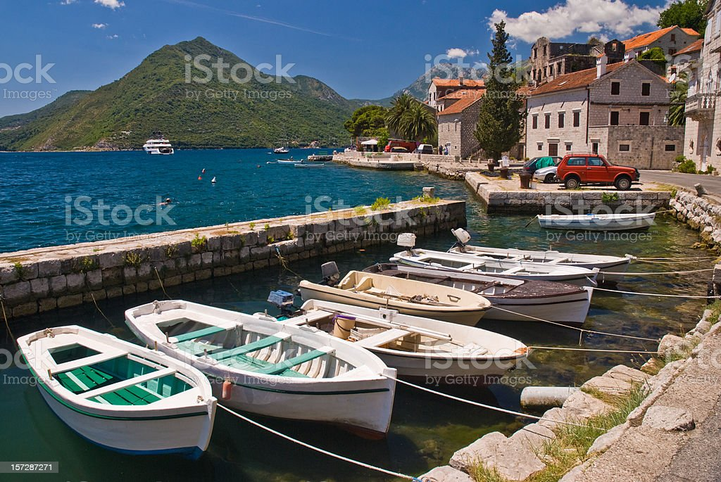 Boats in the dock, Montenegro stock photo