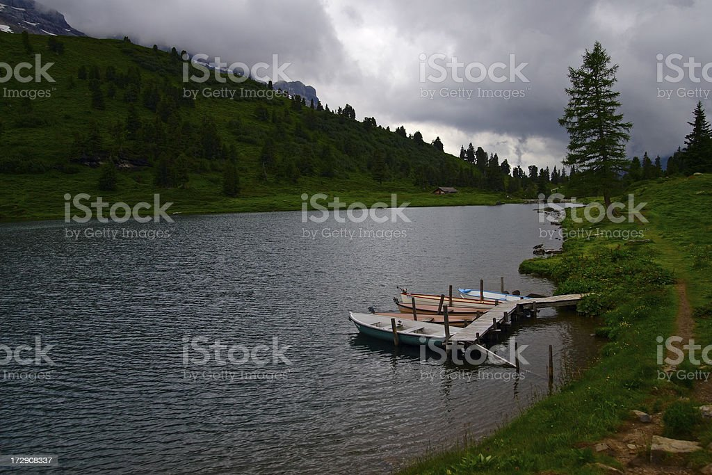 Boats in the Engstlen Lake royalty-free stock photo