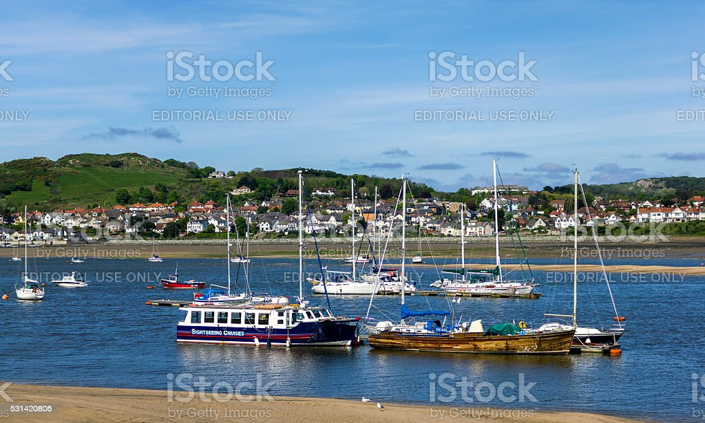 Boats in the Estuary at Conway, North Wales stock photo
