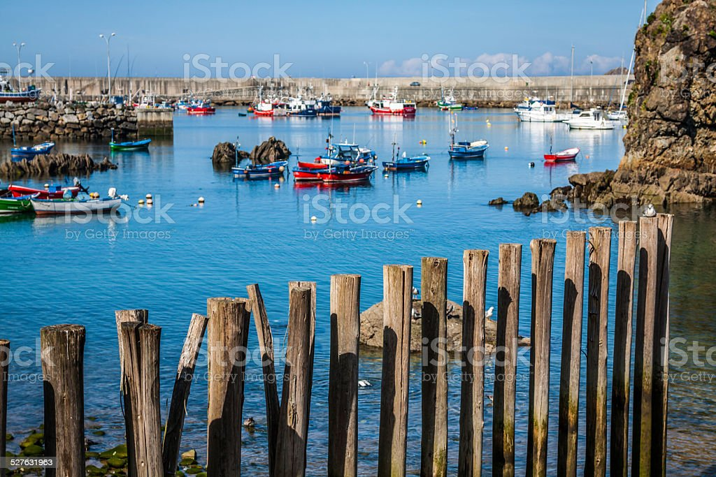 Boats in the fishing port from Cudillero, Asturias, Spain. stock photo