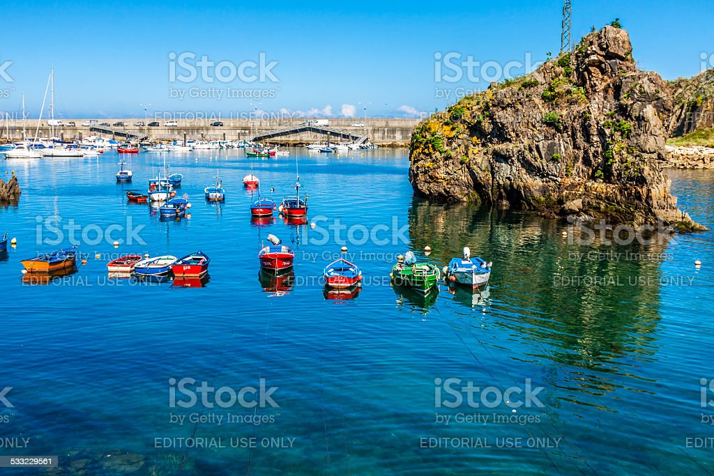 Boats in the fishing port from Cudillero, Asturias, Spain stock photo