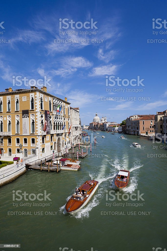 Boats in the Grand canal, Venice stock photo