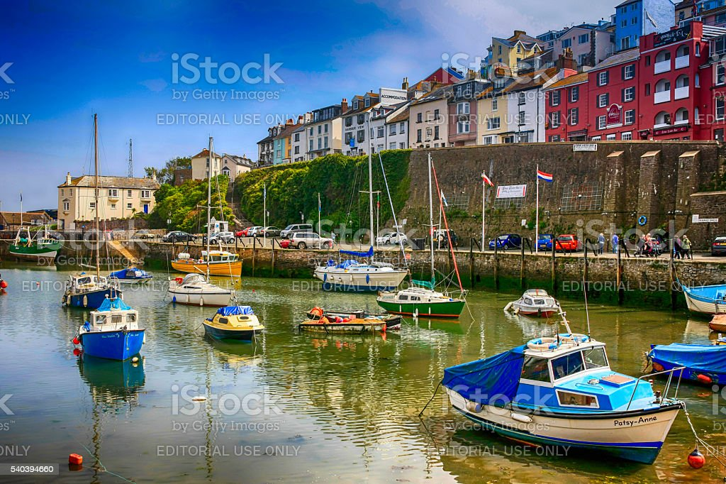 Boats in the harbor at Brixham, UK stock photo