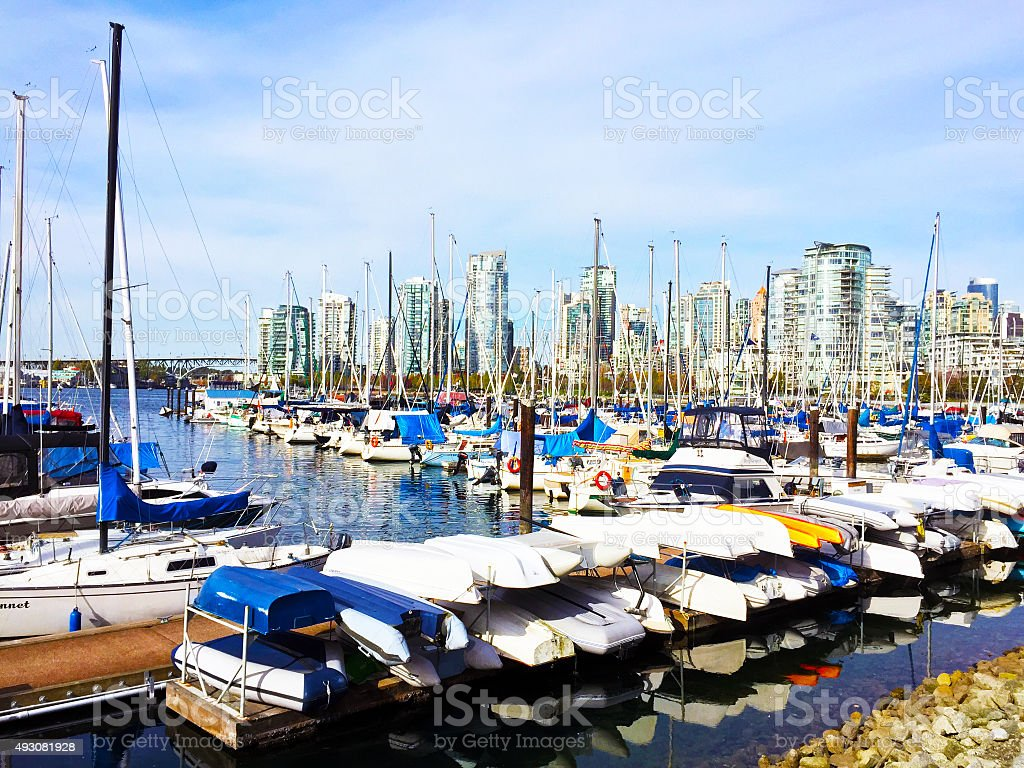 Boats in the harbor of Vancouver, BC royalty-free stock photo
