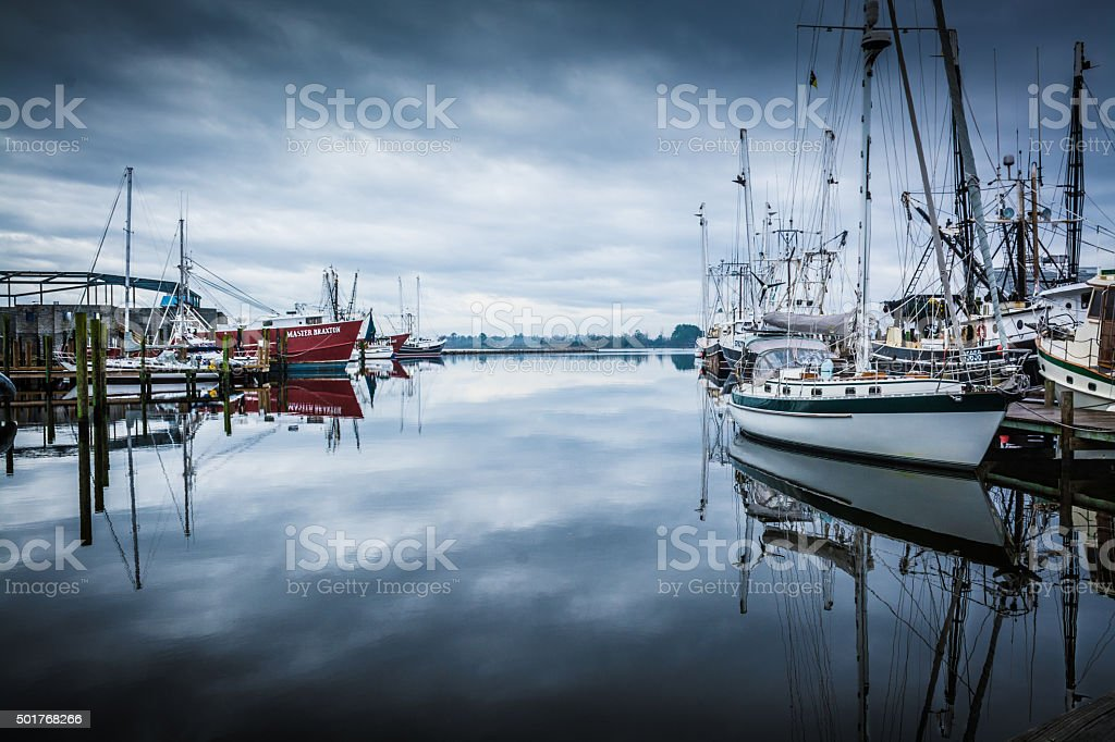 Boats in the Harbor stock photo