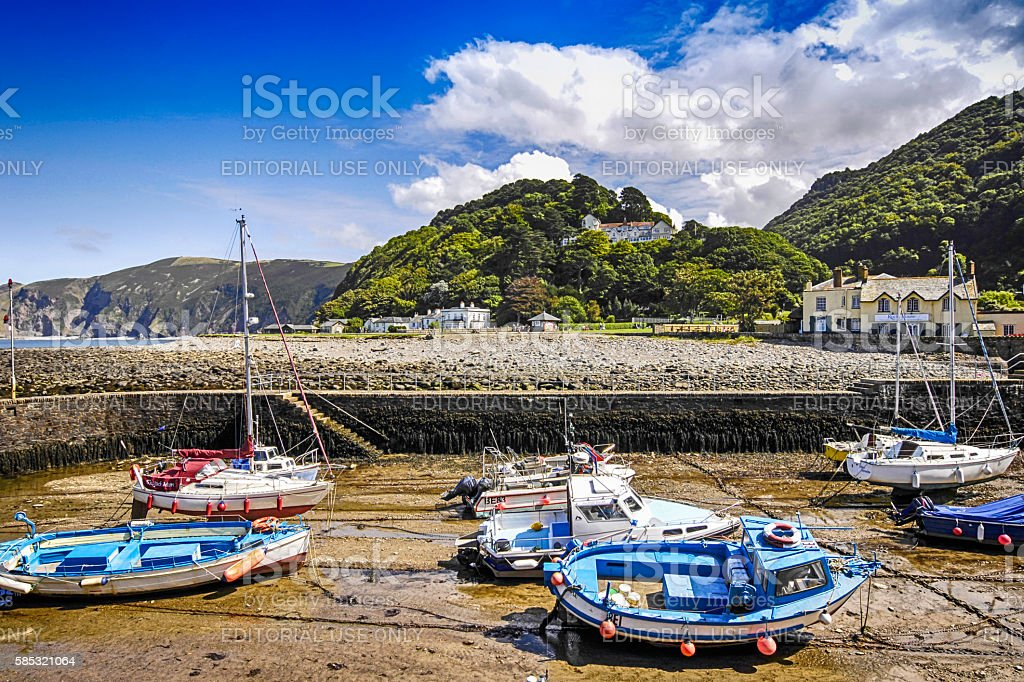 Boats in the harbour at low-tide in Lynmouth, UK stock photo