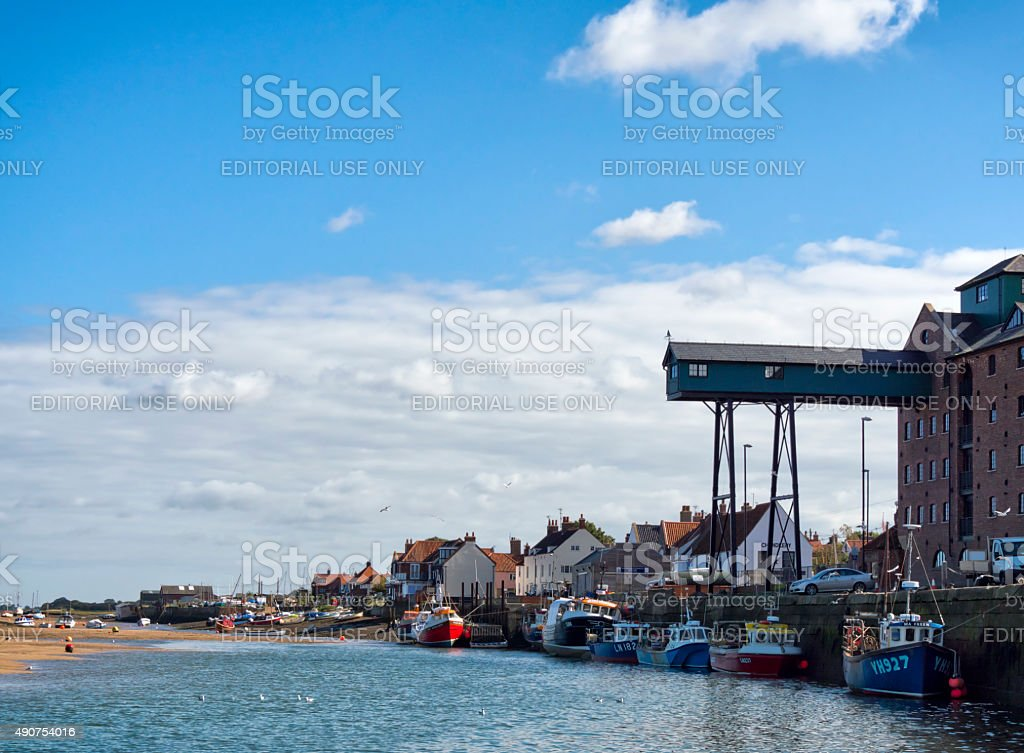 Boats in the harbour at Wells-next-the-Sea stock photo