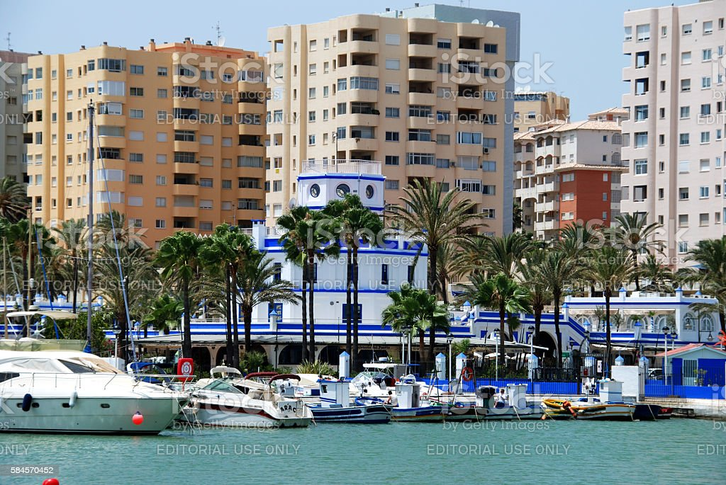 Boats in the harbour, Estepona. stock photo