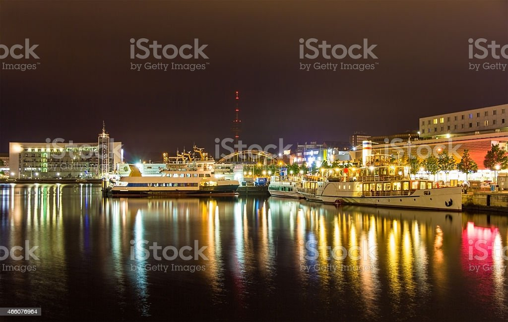 Boats in the Kiel seaport - Germany, Schleswig-Holstein stock photo