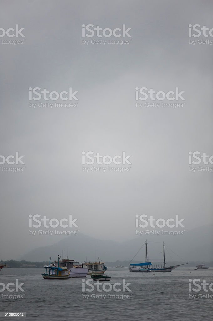 Boats in the Mist stock photo