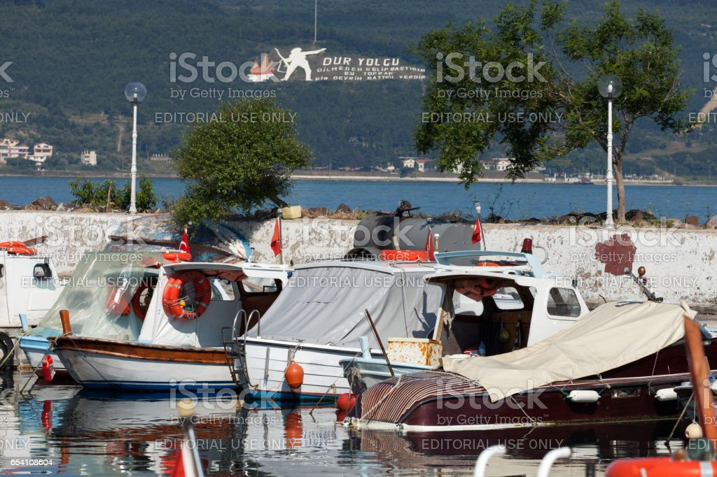 Boats in the port in Canakkale. Turkey stock photo