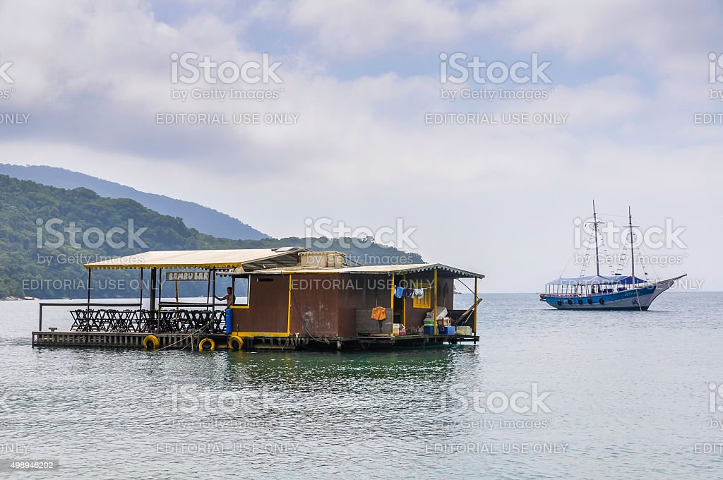 Boats in the port in Ilha Grande Island, Brazil stock photo