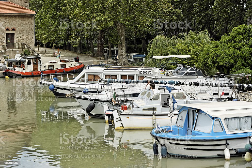 Boats in the port of Colombiers, France stock photo