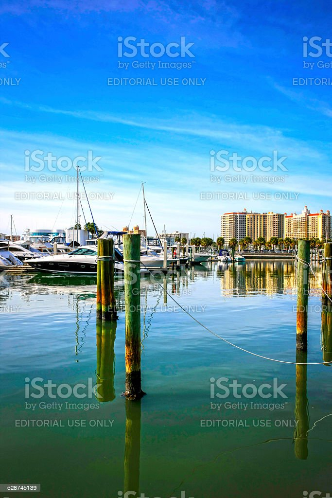 Boats in the Sarasota bayfront Marina Jack in Florida stock photo