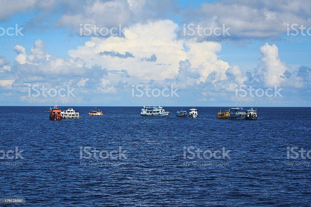 boats in the sea stock photo