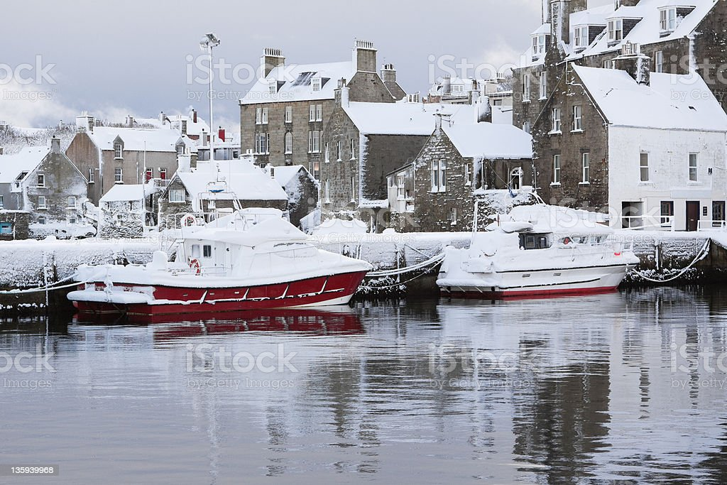Boats in the Snow royalty-free stock photo