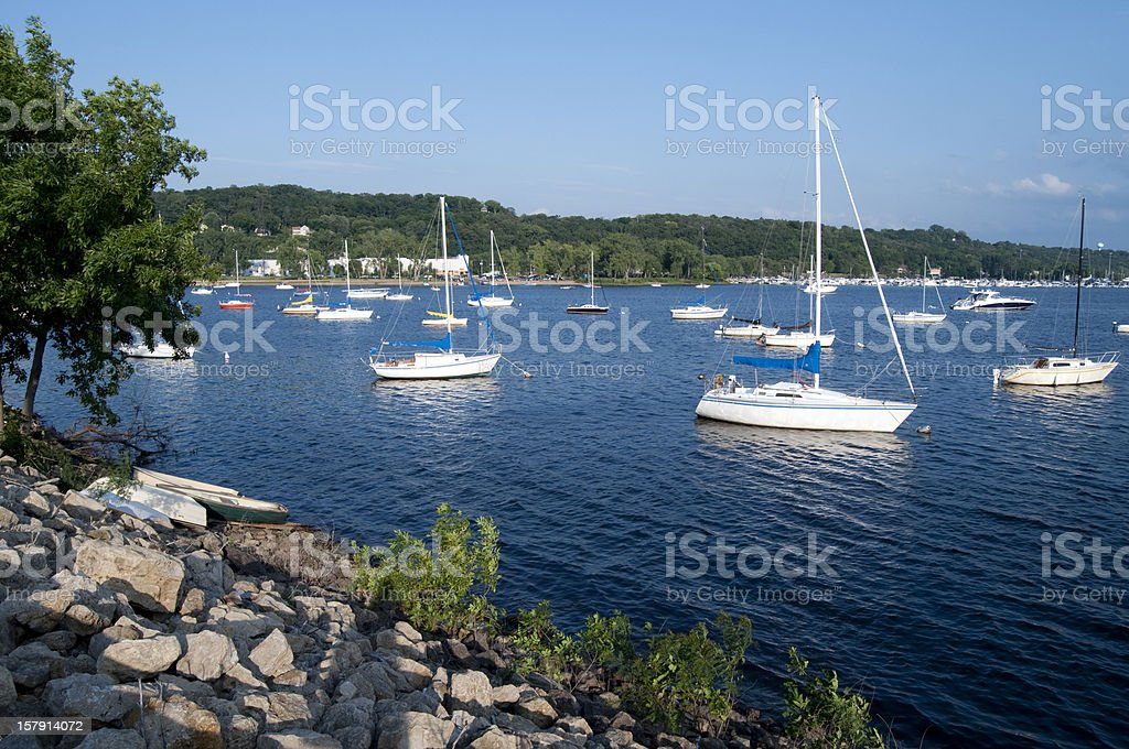Boats in the St Croix River on a summer day stock photo