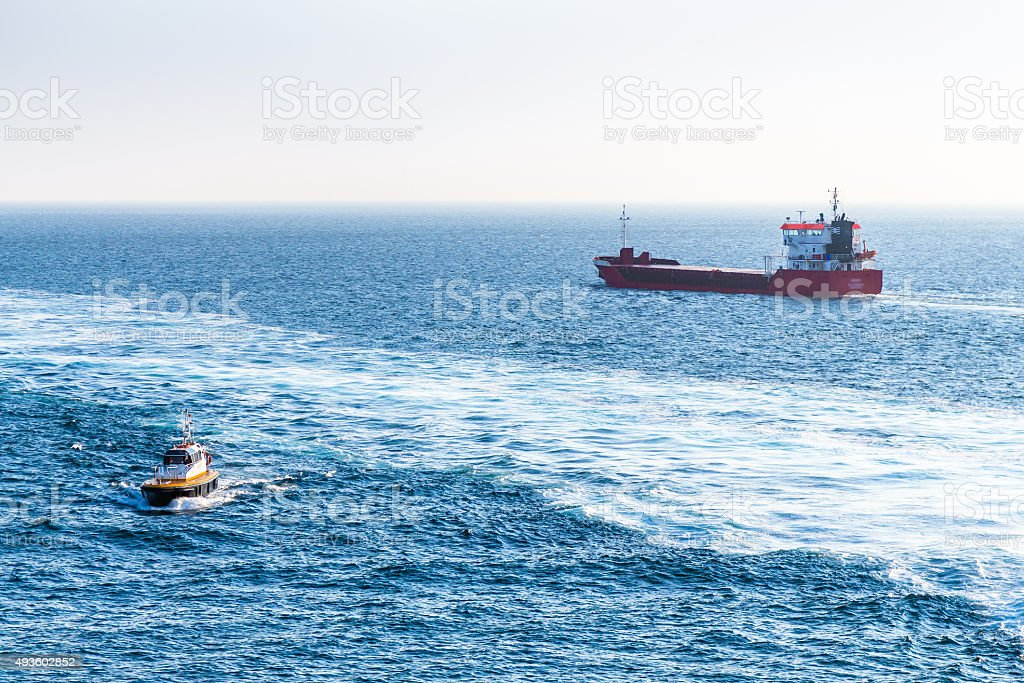 Boats in the Strait of Gibraltar stock photo