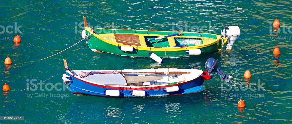Boats in the water off Vernazza, Cinque Terre, Italy stock photo
