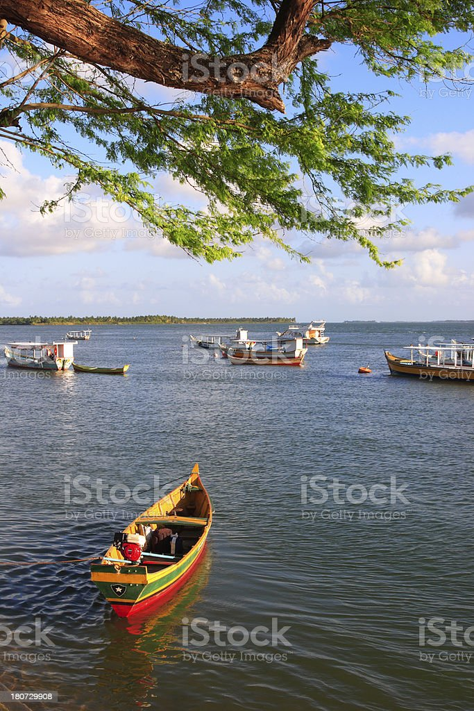 Boats in Tropical Beach (Brazil) royalty-free stock photo