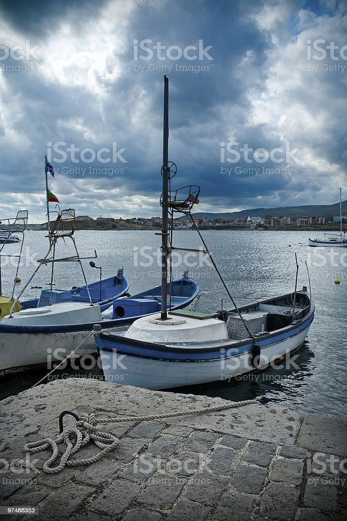 Boats in Tsarevo harbour, Bulgaria royalty-free stock photo