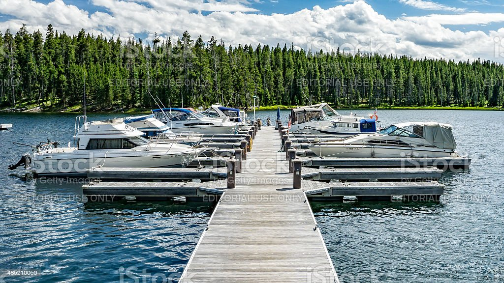 Boats in Yellowstone Lake stock photo