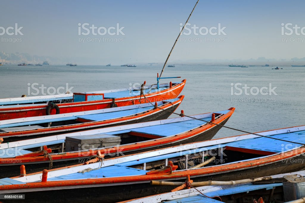 Boats is standing in calm water stock photo