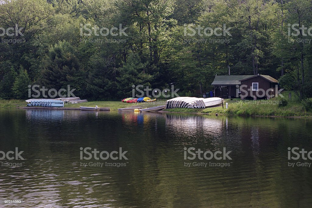Boats lie on the bank of lake royalty-free stock photo