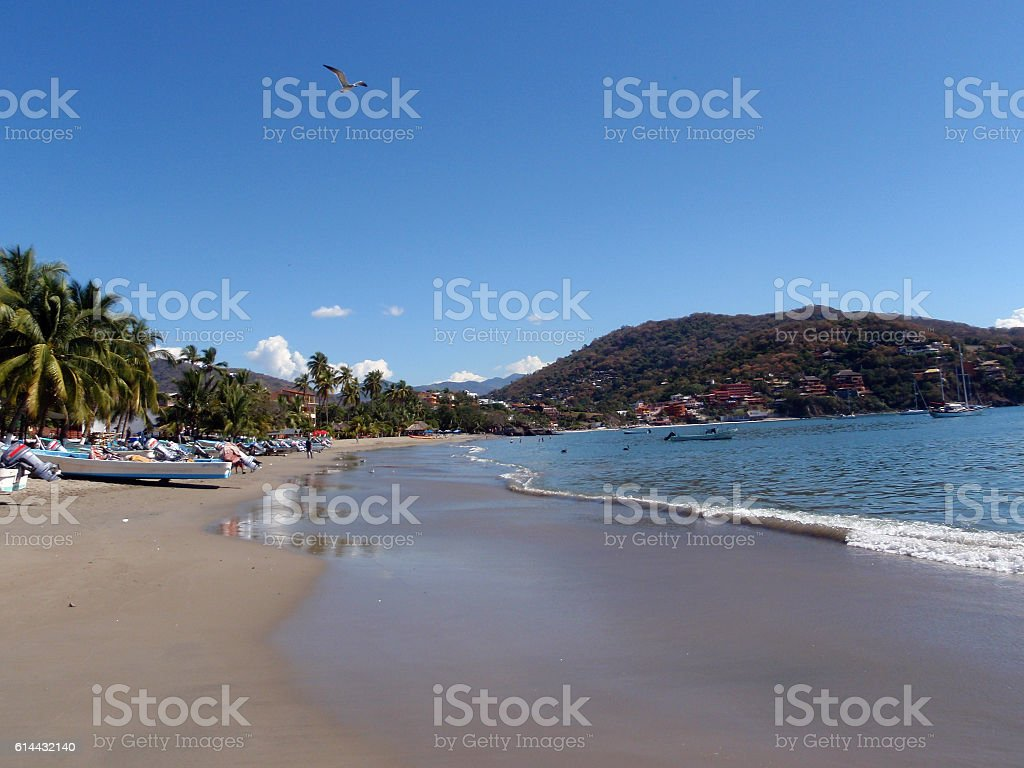 Boats lined up on beach in Zihuatanejo stock photo