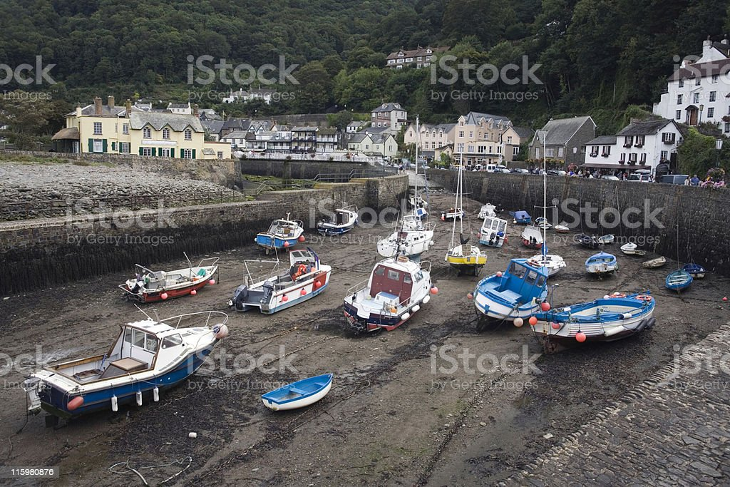 boats lying in Lynmouth's port at low tide royalty-free stock photo