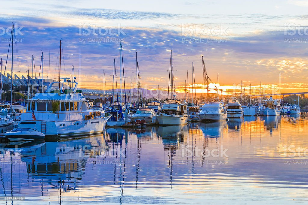 boats, marina at dawn, sunrise clouds, San Diego Harbor, California stock photo