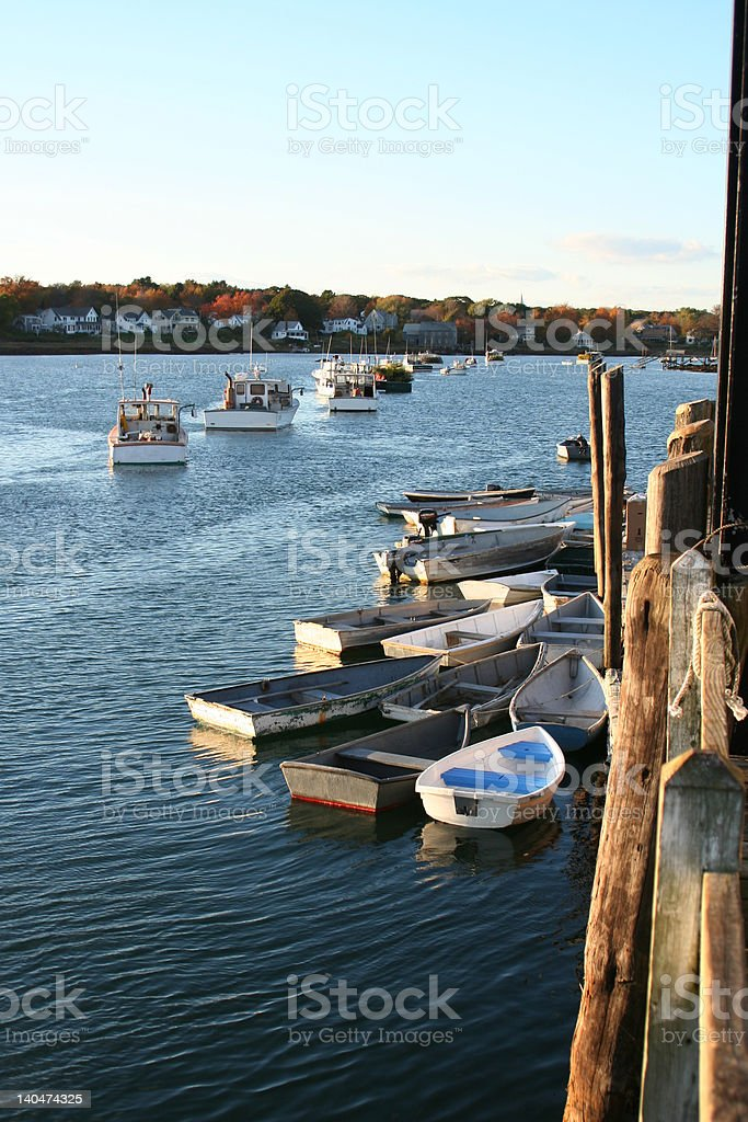 Boats moored at Cape Porpoise, Maine royalty-free stock photo