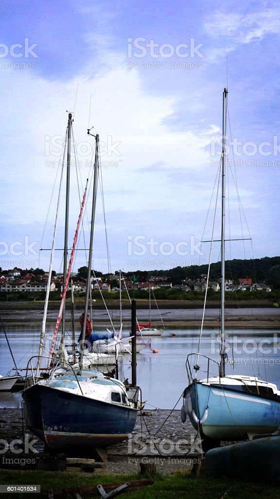 Boats moored at Conwy Bay, North Wales stock photo