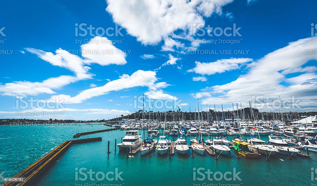 Boats moored at Half Moon Bay marina in Auckland stock photo