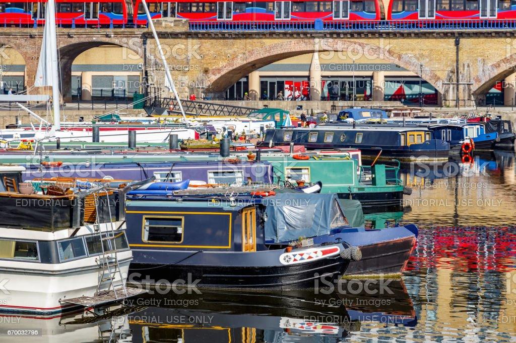 Boats moored at Limehouse Basin Marina stock photo